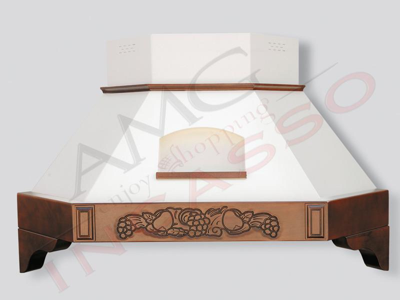 Cappa Melany angolo Cm.103X103 cornice legno Grezza Scolpita - AMG ...