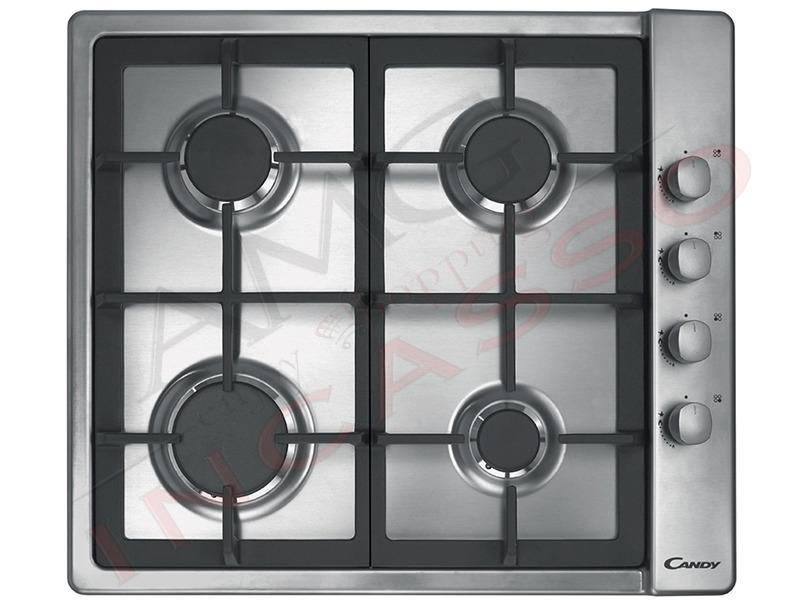 piano cottura candy cm.60 clg64sgx 4 fuochi, doppia griglia in ... - Cucina Quattro Fuochi