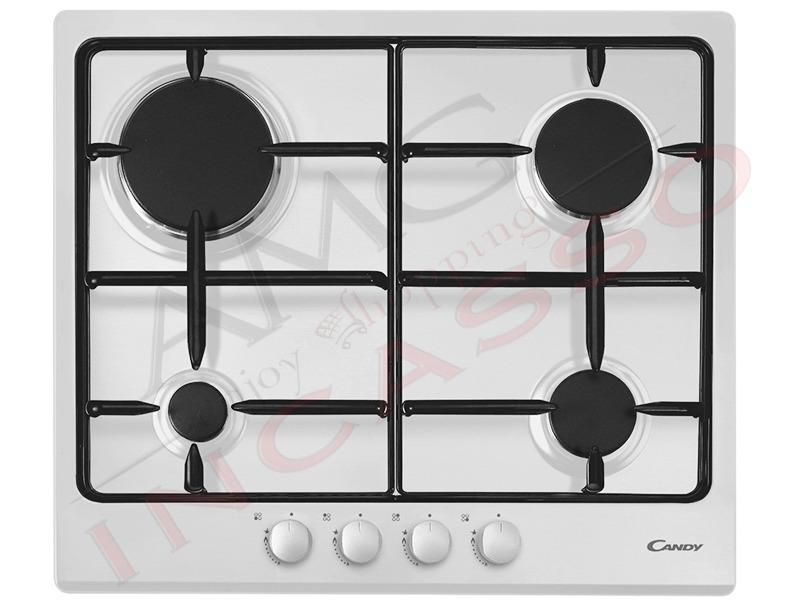 Piano Cottura Candy Cm.60 CPG 64 S PB 4 fuochi gas, griglia doppia ...