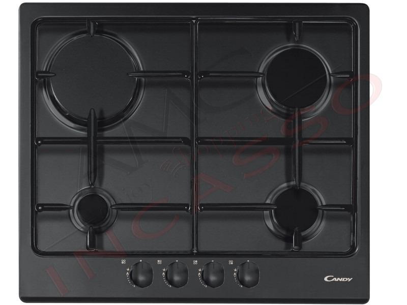 Piano Cottura Candy Cm.60 CPG 64 S PN 4 fuochi gas, griglia doppia ...