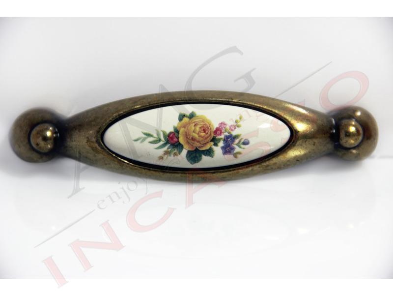Maniglia Pomello 711 distanza tra i fori 9,6 cm ottone ceramica ...