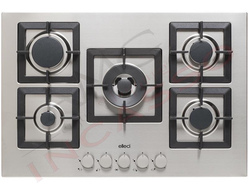 Piano cottura cucina plano 5 fuochi gas griglie in - Piano cucina acciaio inox ...