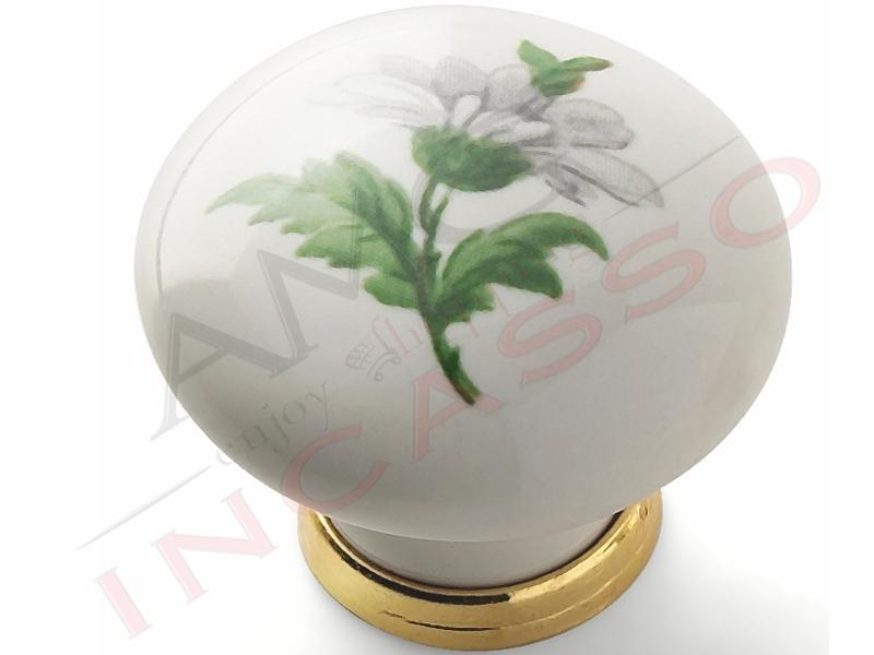 Pomolo pomello 669 20 margherita porcellana ceramica rotondo base ottone lucido amg incasso - Maniglie porcellana cucina ...