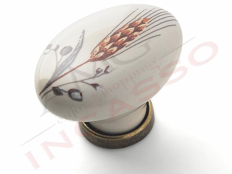 Pomolo Pomello 670-81 spiga porcellana ceramica ovale base ...