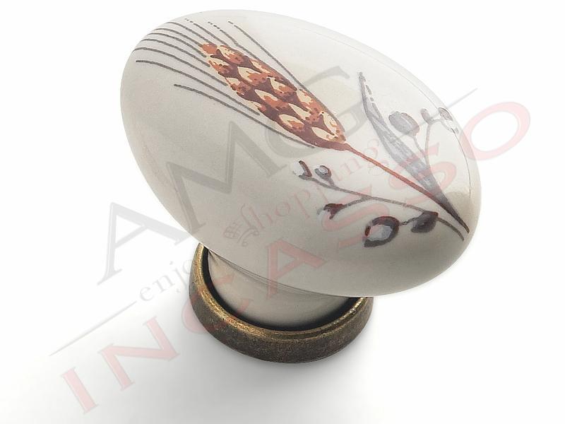 Pomolo Pomello 670-81 spiga porcellana ceramica ovale base ottone ...