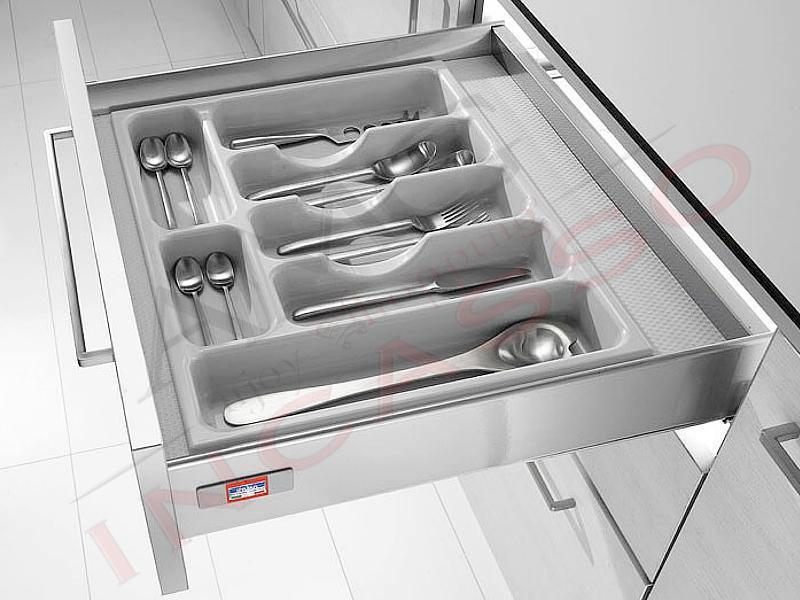 Portaposate inoxa 98 30 pvc grigio rifilabile per cassetto - Portaposate per cassetti ...