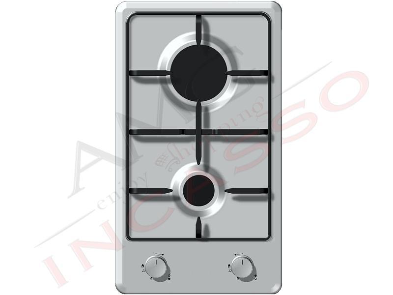 Piano cottura cucina domino 2 fuochi gas acciaio inox amg incasso elettrodomestici da - Cucina a gas due fuochi ...