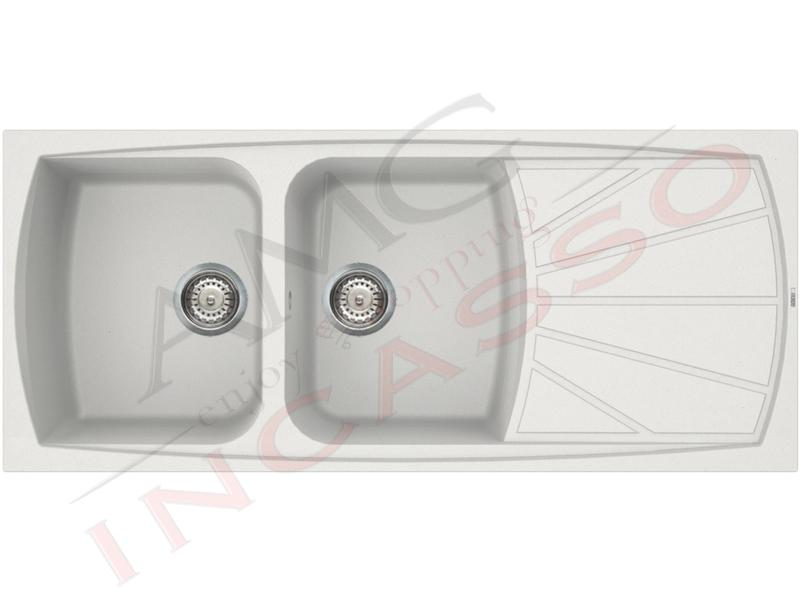 Lavello Cucina 2 Vasche cm.116X50 Living Granitek® G68 Bianco Titano ...