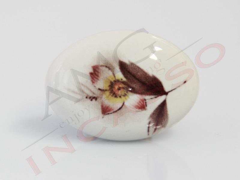 Pomolo Pomello 670-02 Fiore autunnale porcellana ceramica ovale b ...