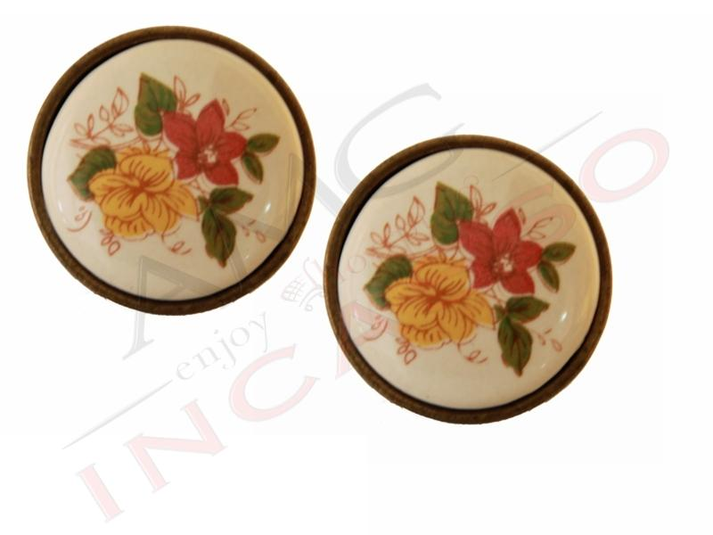 Pomolo pomello 671 24 fiore giallo rosso porcellana - Pomelli ceramica per cucina ...