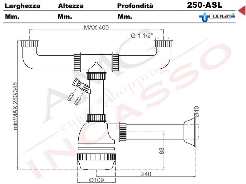 sifone 2 via a fiasca l.b.plast 250-als con attacco lavastoviglie e