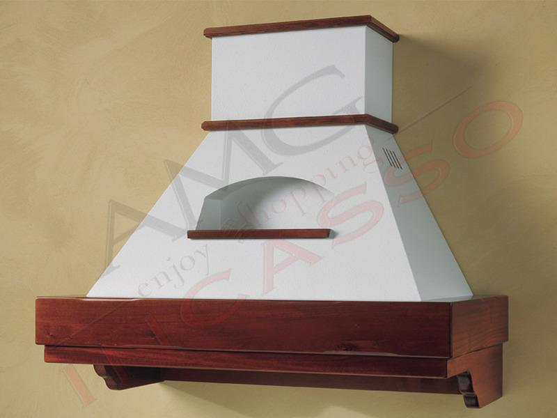 Cappa Desire Cm.120 cornice legno verniciata lamiera bianca/panna ...