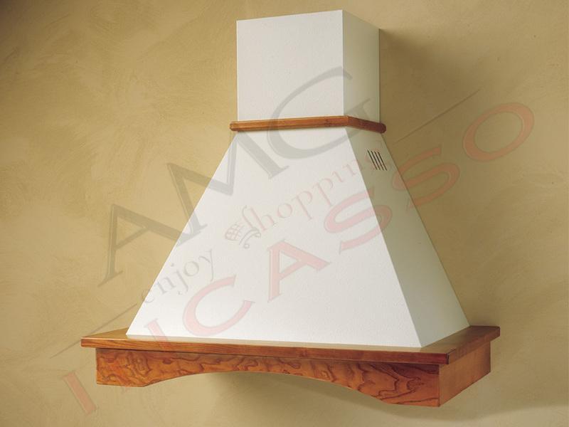 Cappa Flora Cm.90 cornice legno verniciata lamiera bianca/panna ...