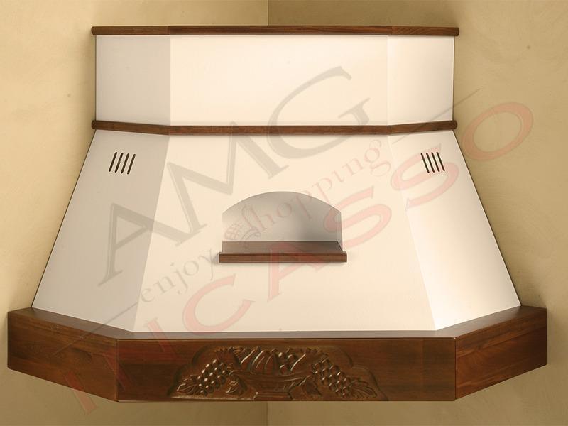 Cappa Giorgia Angolo cornice legno grezza lamiera bianca/panna | AMG ...