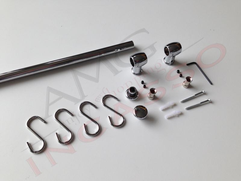 Kit Barra Sottopensile Cromata Cm.120 Inoxa 837-1200C + 4 ganci ...