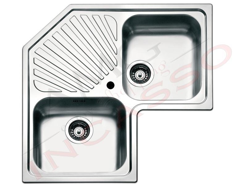 Lavello Cucina Acciaio Angolo cm.83X83 2 Vasche e Gocciolatoio | AMG ...