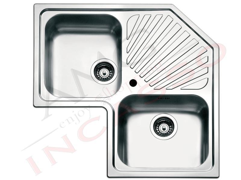 Lavello Cucina Acciaio Angolo cm.83X83 2 Vasche e ...