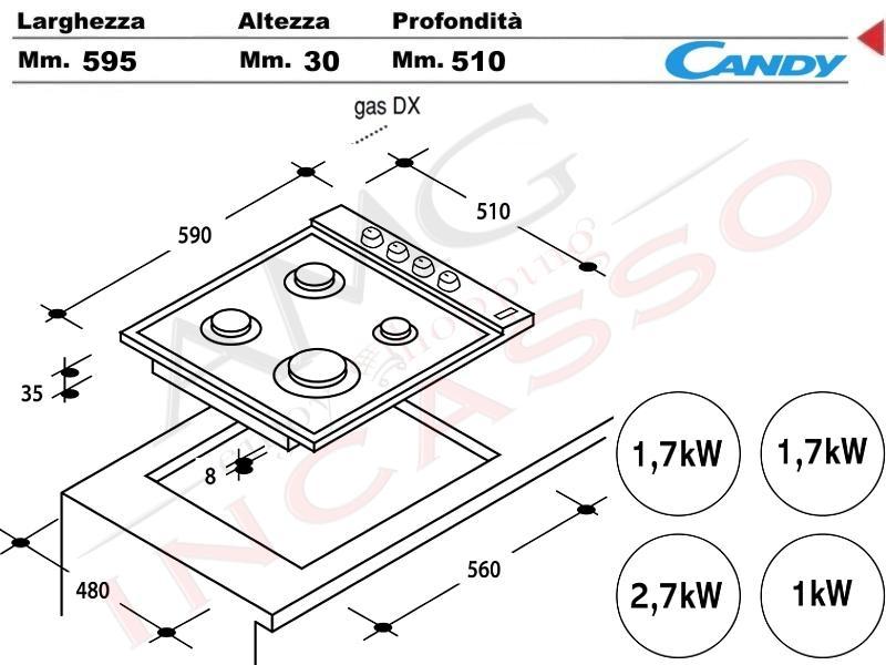 Piano Cottura Candy Cm.60 CLG64SGX 4 fuochi, doppia griglia in ghisa ...