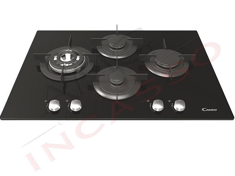 piano cottura candy cm75 cvg74sqpnx 4 fuochi di cui 1 quadrupla corona 4 griglie indipendenti cristallo temperato nero incasso cucina amg incasso