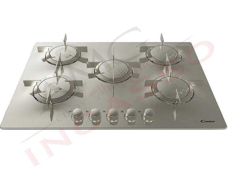 Piano cottura candy cfx 75 5 fuochi elite griglie in - Piano cucina acciaio inox ...