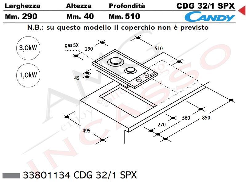 Piano Cottura Candy Cm.30 CDG32/1 SPX 2 fuochi griglia in piattina ...