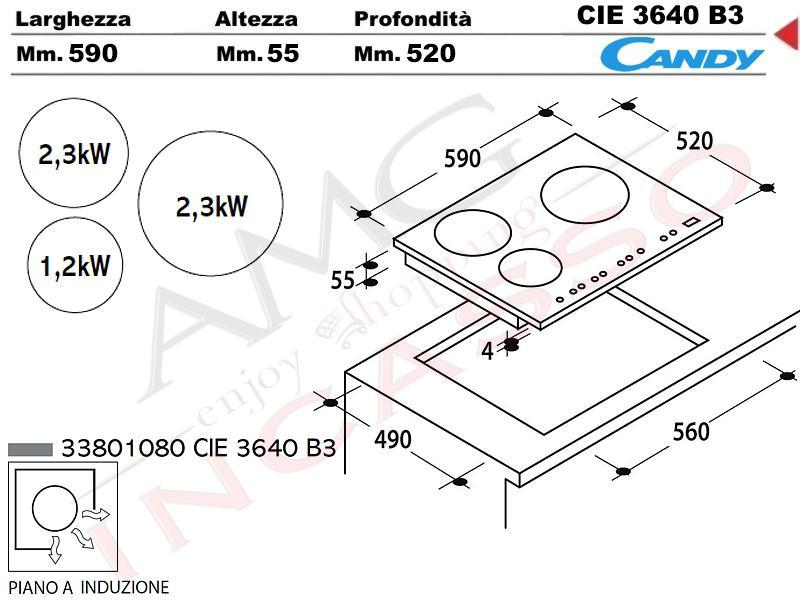 Piano cottura induzione 60 candy cie3640 b3 3 zone 9 for Dimensioni piano cottura