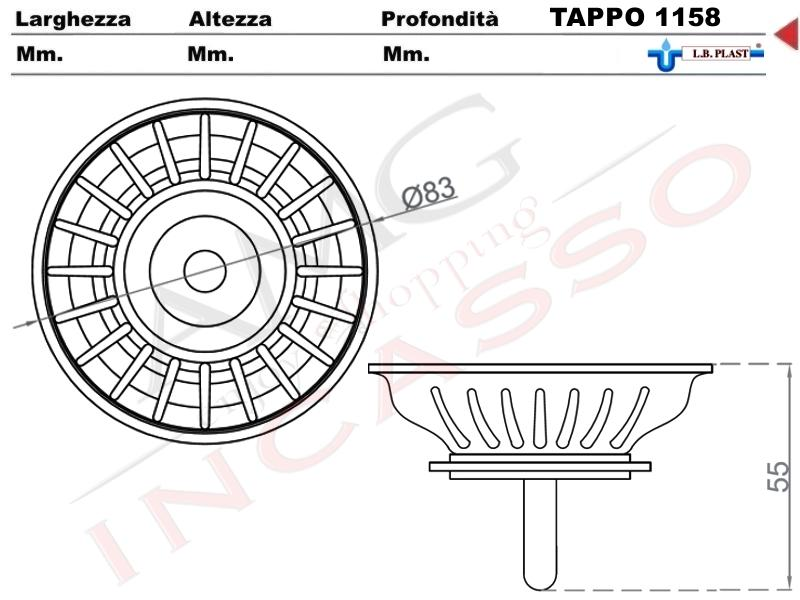 Tappo accessorio L.B.Plast 1158 cestello Ø 83 Piletta Basket 3 ...