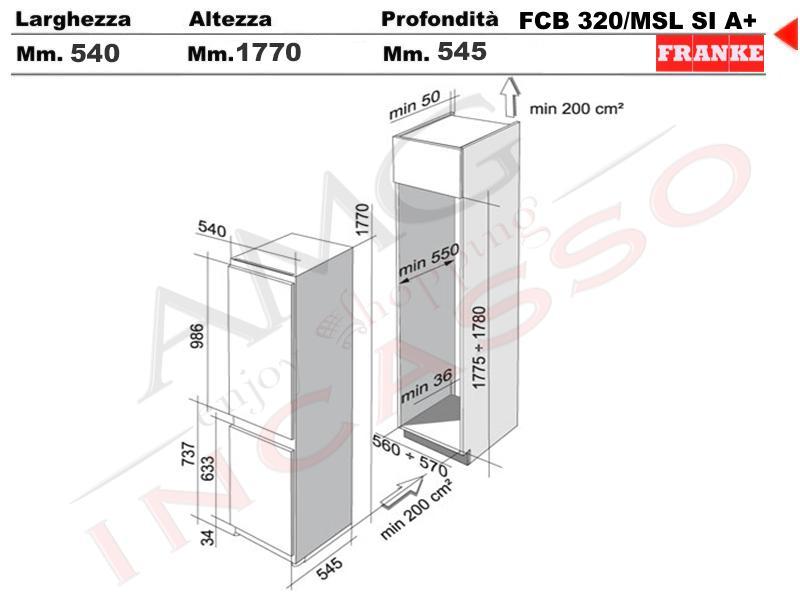 Frigorifero Combinato 60 FCB 320/MSL AI A+ 3590028 Classe A+ ...