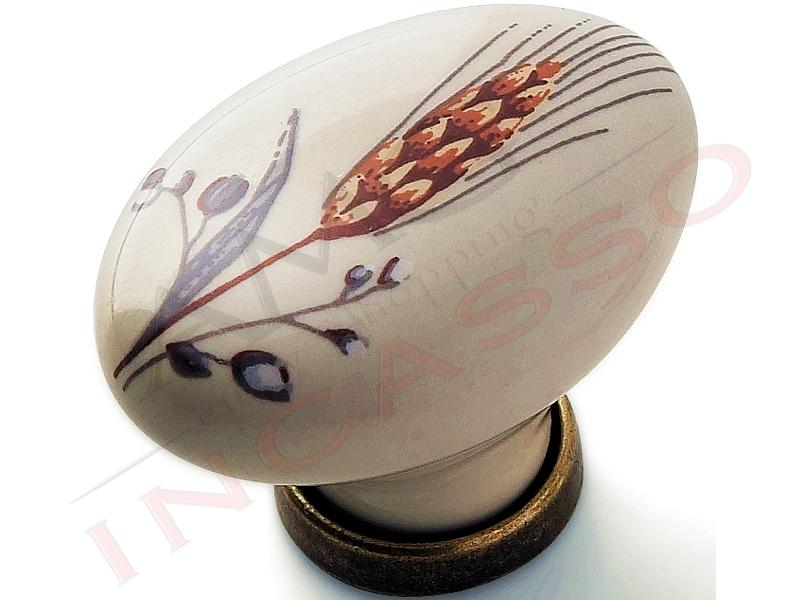 Maniglia pomello pomolo cominfer 670 81 spiga ottone antico in porcellana ceramica ovale per - Pomelli ceramica per cucina ...