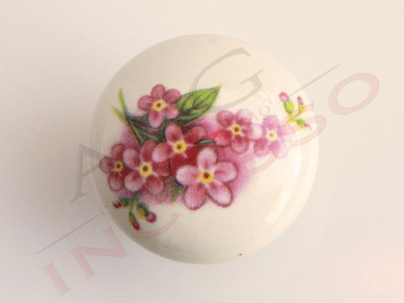 Pomolo Pomello 669-15 Fiore pesco porcellana ceramica tondo ...