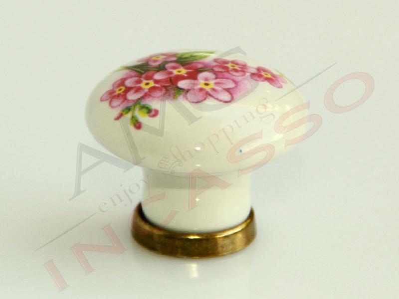 Pomolo pomello 669 15 fiore pesco porcellana ceramica tondo base ottone cucina amg incasso - Pomelli per mobili cucina ...