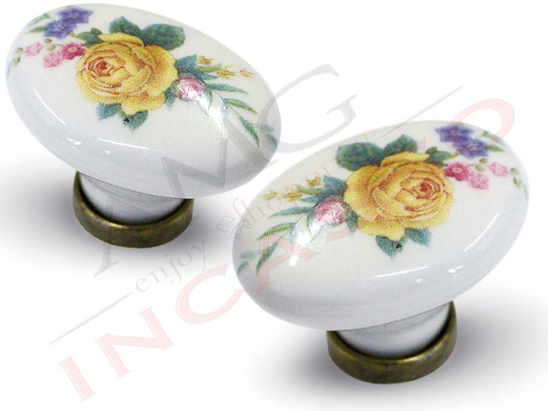 Pomolo pomello 670 11 fiore giallo porcellana ceramica ovale base ottone antico amg incasso - Pomelli per mobili cucina ...