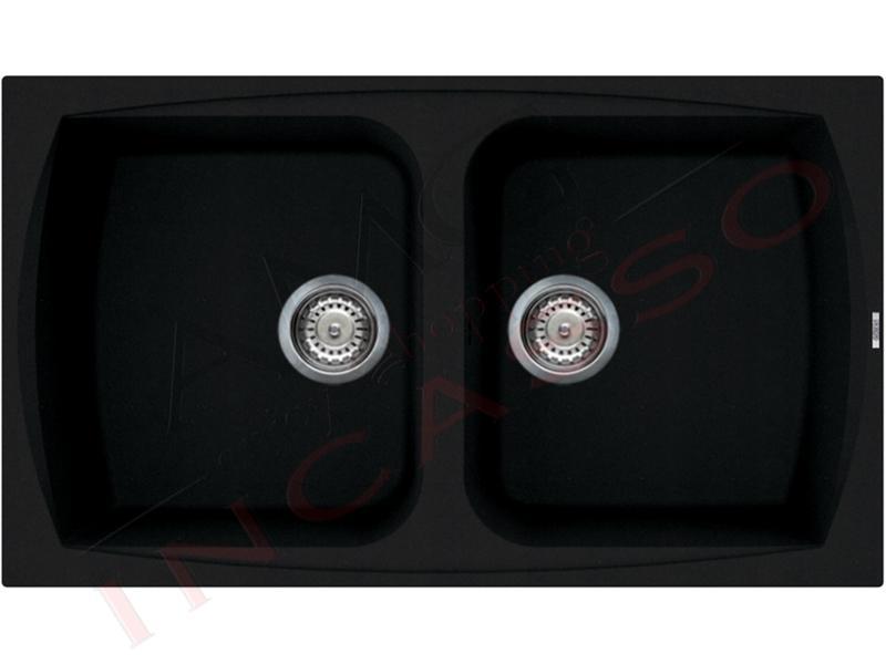Lavello Cucina 2 Vasche cm.86X50 Living Granitek® G40 Full Black ...