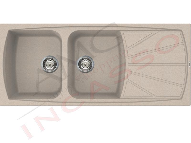 Lavello Incasso Cucina Elleci Living cm.116X50 LGL50051 2 Vasche ...