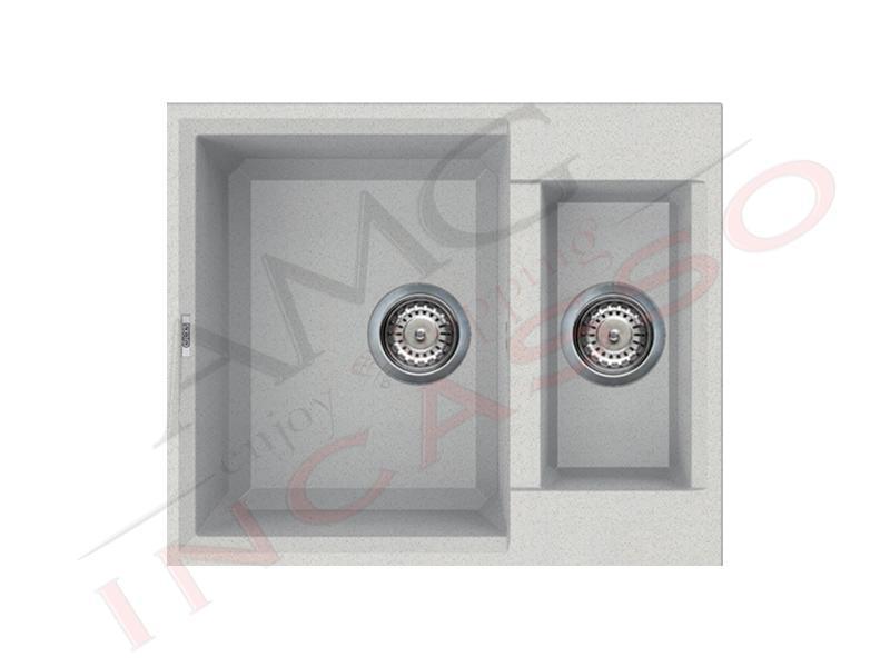 Lavello Cucina 2 Vasche cm.60X50 Easy Granitek® G52 Bianco | AMG ...