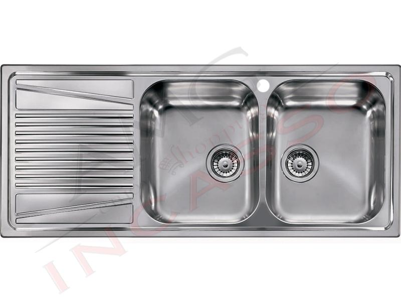 Vasca Da Cucina In Acciaio : Lavello river 500 lir500ancdx 116 x 50 2 vasche destre con