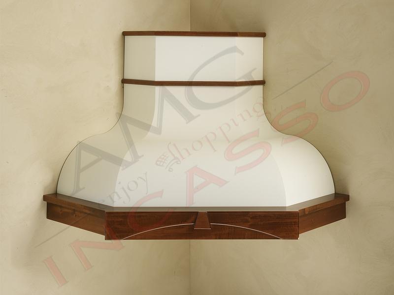 Cappa angela angolo v compresa cornice legno scolpita verniciata cucina rustica country - Motori per cappe da cucina ...
