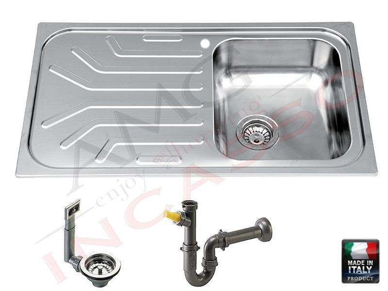 Lavello Cucina 1 Vasca Grande.Lavello R S Italia Sirius Si8613 Dx Inox Vasche Saldate 86 X 50 1