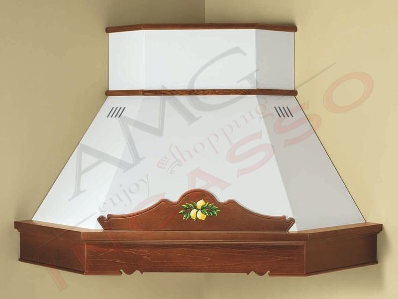 Cappa Sonia Angolo cornice legno grezza lamiera bianca/panna | AMG ...