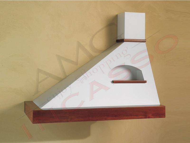 Cappa Trapezio Cm.90 sinistra cornice legno grezzo lamiera bianca ...