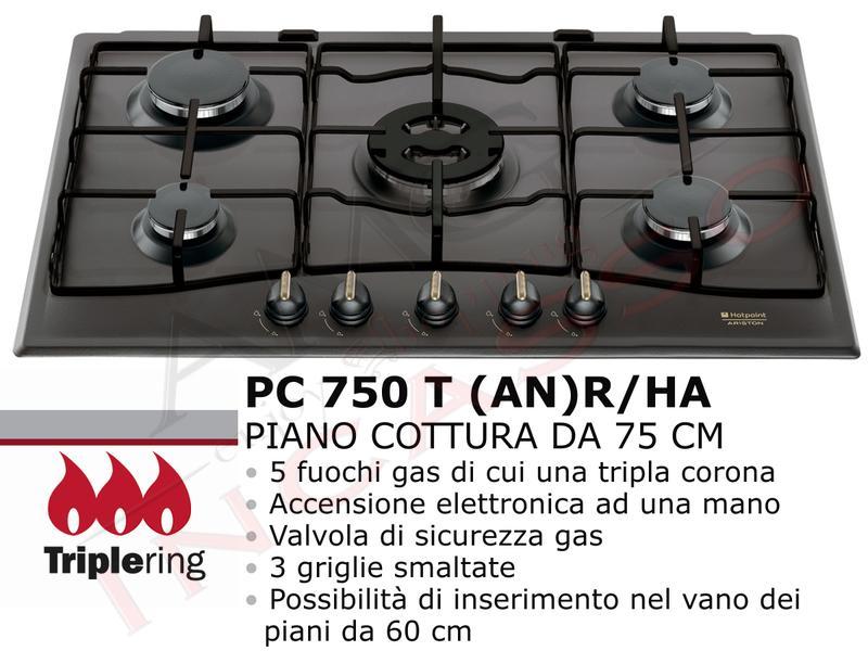 Piano Cottura Cucina Tradizione 5 Fuochi Gas cm.75 Antracite | AMG ...