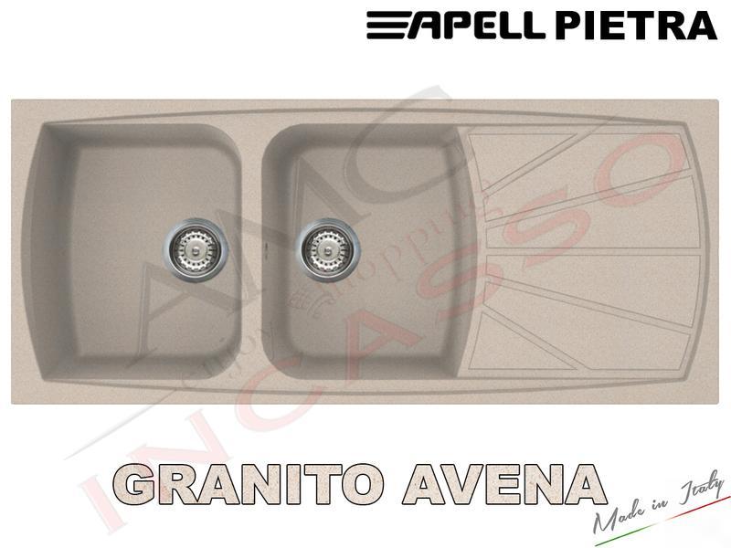 Lavello Fragranite Incasso Cucina Apell PT1162GO cm.116X50 2 Vasche ...