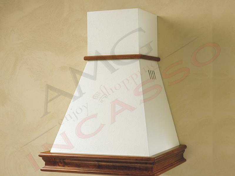 Cappa Chiara Cm.60 cornice legno grezzo lamiera bianca/panna - AMG ...
