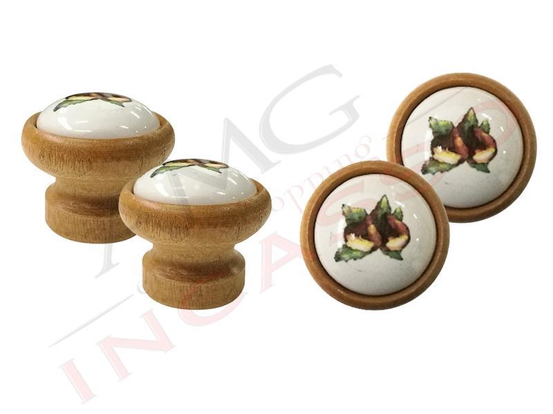 Pomolo pomello castagna p08 legno chiaro rotondo inserto porcellana ceramica amg incasso - Maniglie porcellana cucina ...