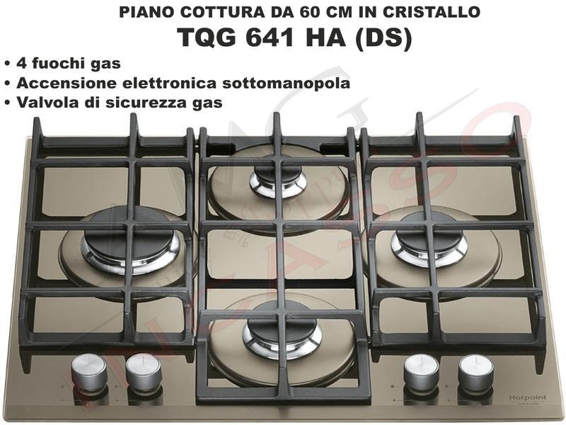 Piano Cottura Cucina in Cristallo 4 Fuochi Gas cm.60 Desert Sand ...
