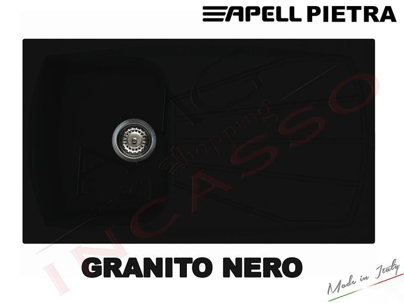 Lavello Cucina 1 Vasca cm.86X50 Pietra Fragranite Nero | AMG incasso ...