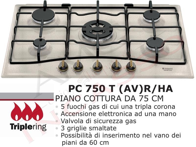 Piano Cottura Incasso Cucina Hotpoint PC 750 T (AV) R/HA 5 Fuochi ...