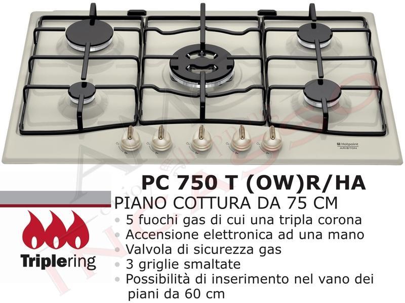 Piano Cottura Incasso Cucina Hotpoint PC 750 T (OW) R/HA 5 Fuochi ...