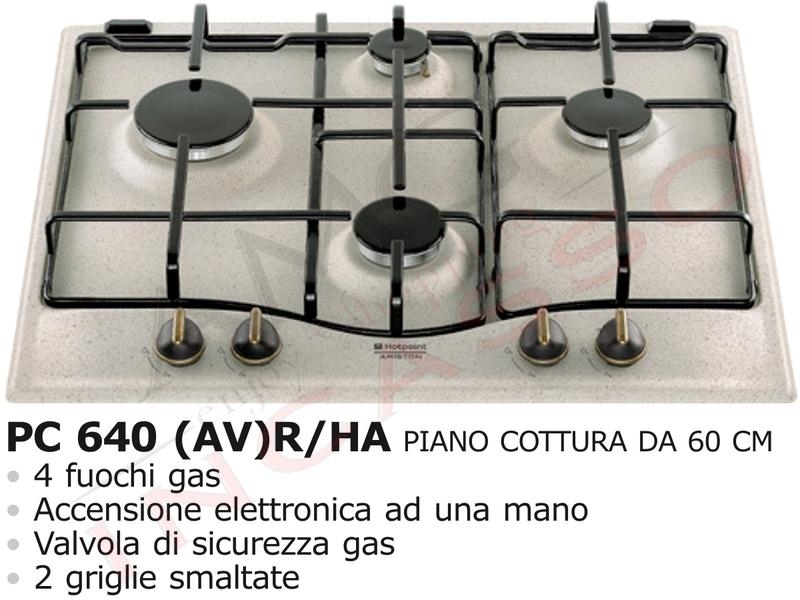 piano cottura 60 hotpoint ariston pc 640 (av) r/ha f077037 4 ... - Cucina Ariston 4 Fuochi