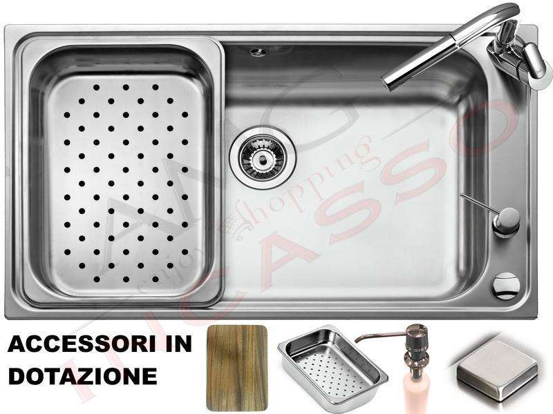 Lavello Acciaio Cucina Criteria 1 Vasca/Vascone cm.86X50 Completo ...